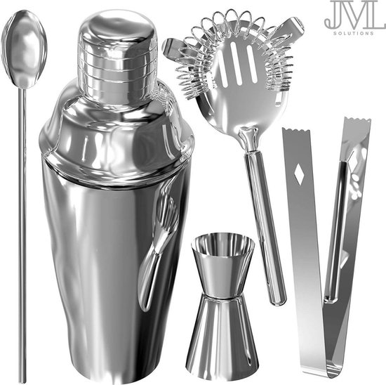 JML Premium Cocktailshaker Set – Design RVS Cocktail set – Cocktail Shaker Set – Cocktail Accessoires – Bartender Set – Cocktailset– Shaker – Bar – Horeca – Barshaker – Cadeau Man / Vrouw – Cadeautip – RVS -Maak de lekkerste Cocktails!