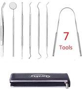 Tandarts Set met Etui – 7 Tools - Gebit Verzorging Setje - Tandartshaakje - Tandplak verwijderen - Mond spiegel - Tongschraper – Qwality