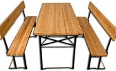 Deuba picknicktafel set - brede tafel 70cm - banken met rugleuning - bierbankset