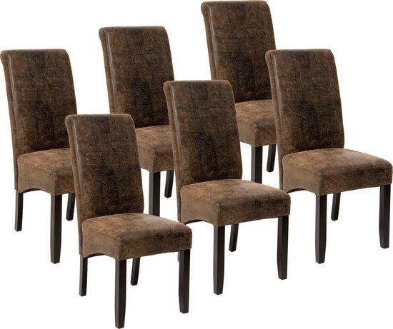 tectake - 6 eetkamerstoelen met ergonomische zitvorm oud bruin