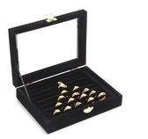 Fliex Sieraden display Ringen manchetknopen doos Zwart - Glas