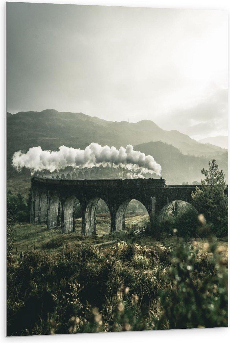 Dibond - Stoomtrein op Brug in de Bergen uit Harry Potter - 80x120cm Foto op Aluminium (Wanddecoratie van metaal)