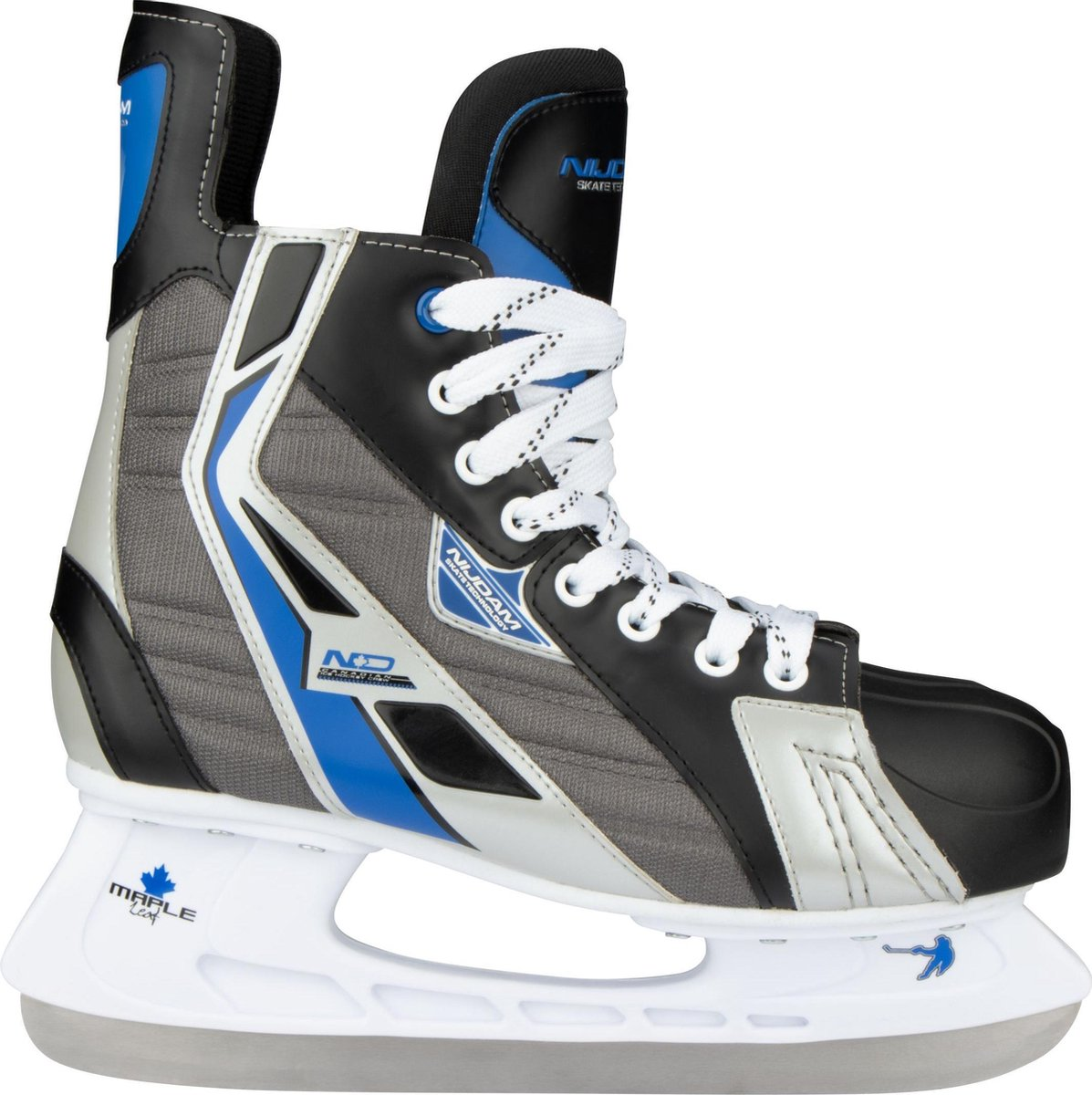 Nijdam IJshockeyschaats Polyester - Deluxe - Zwart/Grijs - Maat 42