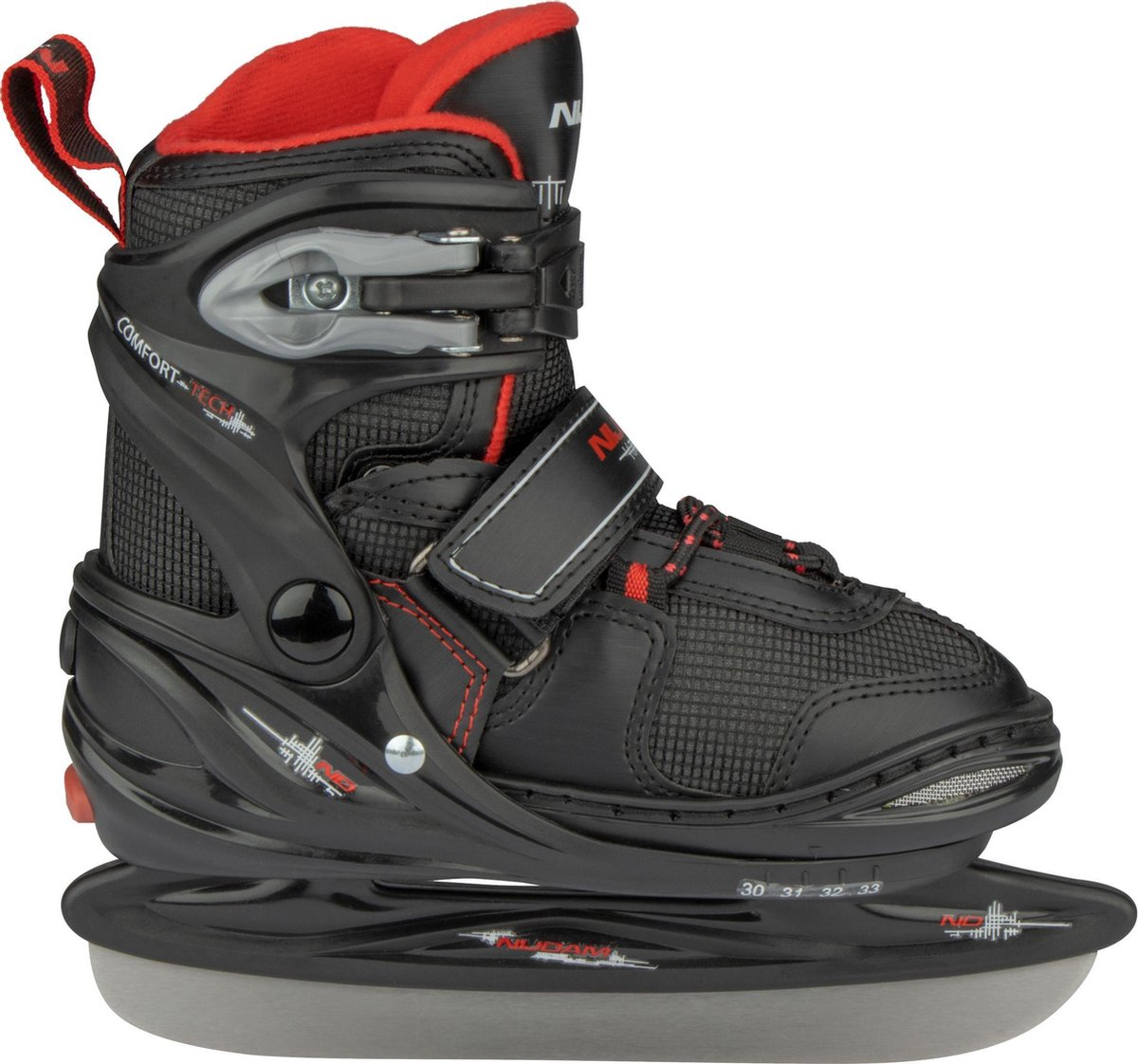 Nijdam IJshockeyschaats Junior Verstelbaar - Semi-Softboot - Zwart/Antraciet/Rood - 38-41