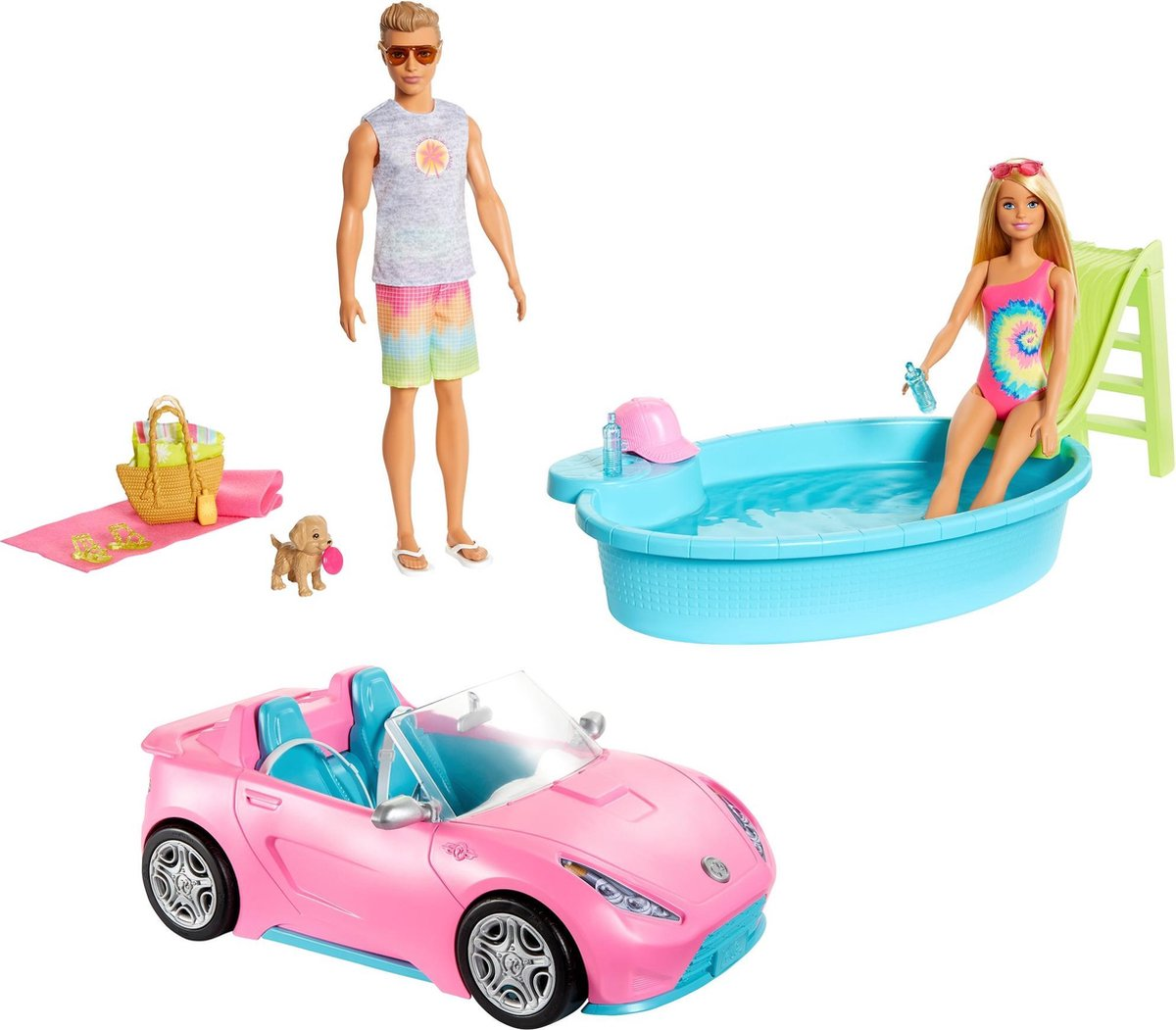Barbie 2 in 1 Zwembad en Cabrio - Speelset