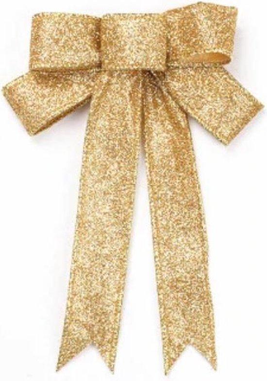 Kerstversiering - grote strik - Glitters - Goude kerstversiering - 23cm - Goud 1st