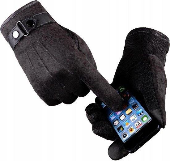 Luxe Winter Handschoenen Met Touch Tip Gloves - Anti-Slip - Touchscreen Gloves - Voor Fiets/Motor/Scooter/Sporten/Wandelen - One-Size - Suede Met Heerlijk Warme Fleece Voering - Winterhandschoenen - Heren -Zwart
