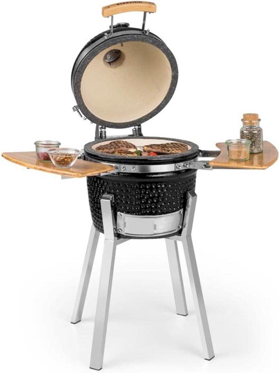 """Klarstein Princesize Pro kamado-barbecue 13"""" (33cm) , Thermometer van 0 - 425 °C in de deksel , Roestvrij stalen bbq rooster: ca. 26 cm , ijstukken , zwart"""