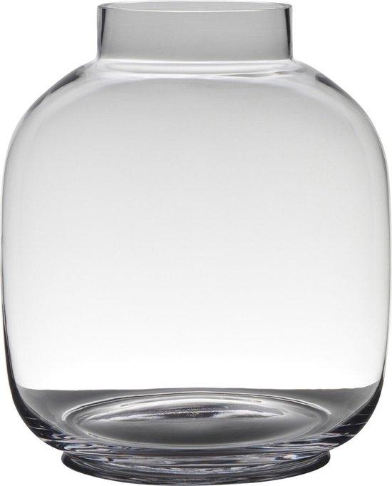 Transparante luxe grote stijlvolle vaas/vazen van glas 29 x 26 cm - Bloemen/boeketten vaas voor binnen gebruik