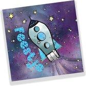 uitnodiging kinderfeestje raket - ruimte - space - sterren - 10 st