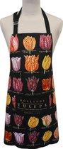 Memoriez Keukenschort Tulpen Zwart 100% Katoen