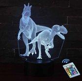 Jurassic Park - 3D illusie led lamp DINO'S - 7 kleuren