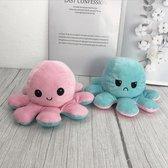 Knuffel Octopus Roze/Blauw  - Mood Knuffel Omkeerbaar - Reversible Octopus - Octopus Knuffel - Emotie Knuffel - Verwisselbaar - Blij en Boos knuffel