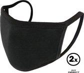 Wasbare mondkapje - 2 stuks - Mondmasker - 3 laags en wasbaar - Hoogwaardig kwaliteit - Niet-medische mondmasker - Face Mask - Zwart