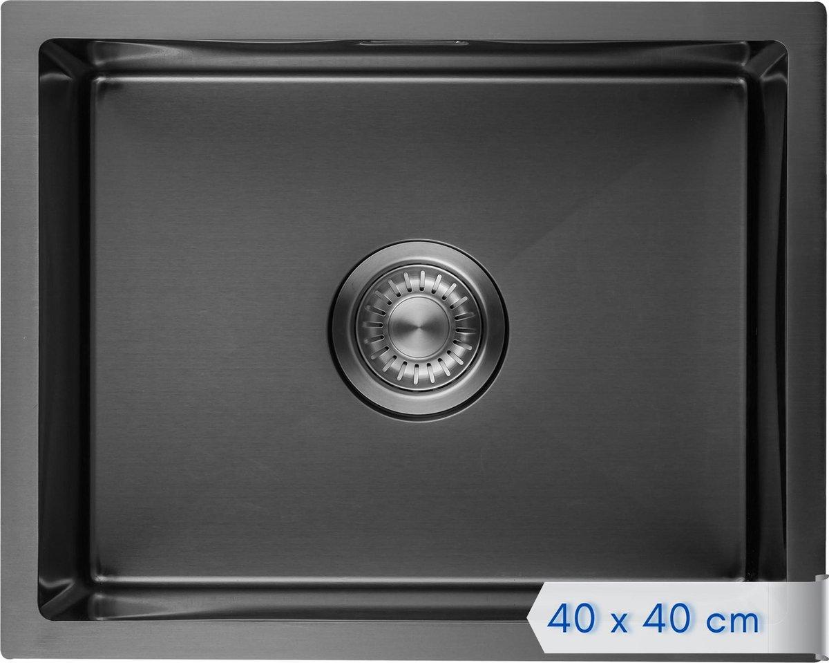 LOMAZOO Spoelbak Zwart / Antraciet (40x40) - Spoelbak Keuken - Spoelbakken Keuken - Wasbak Keuken - RVS [BOAZ]