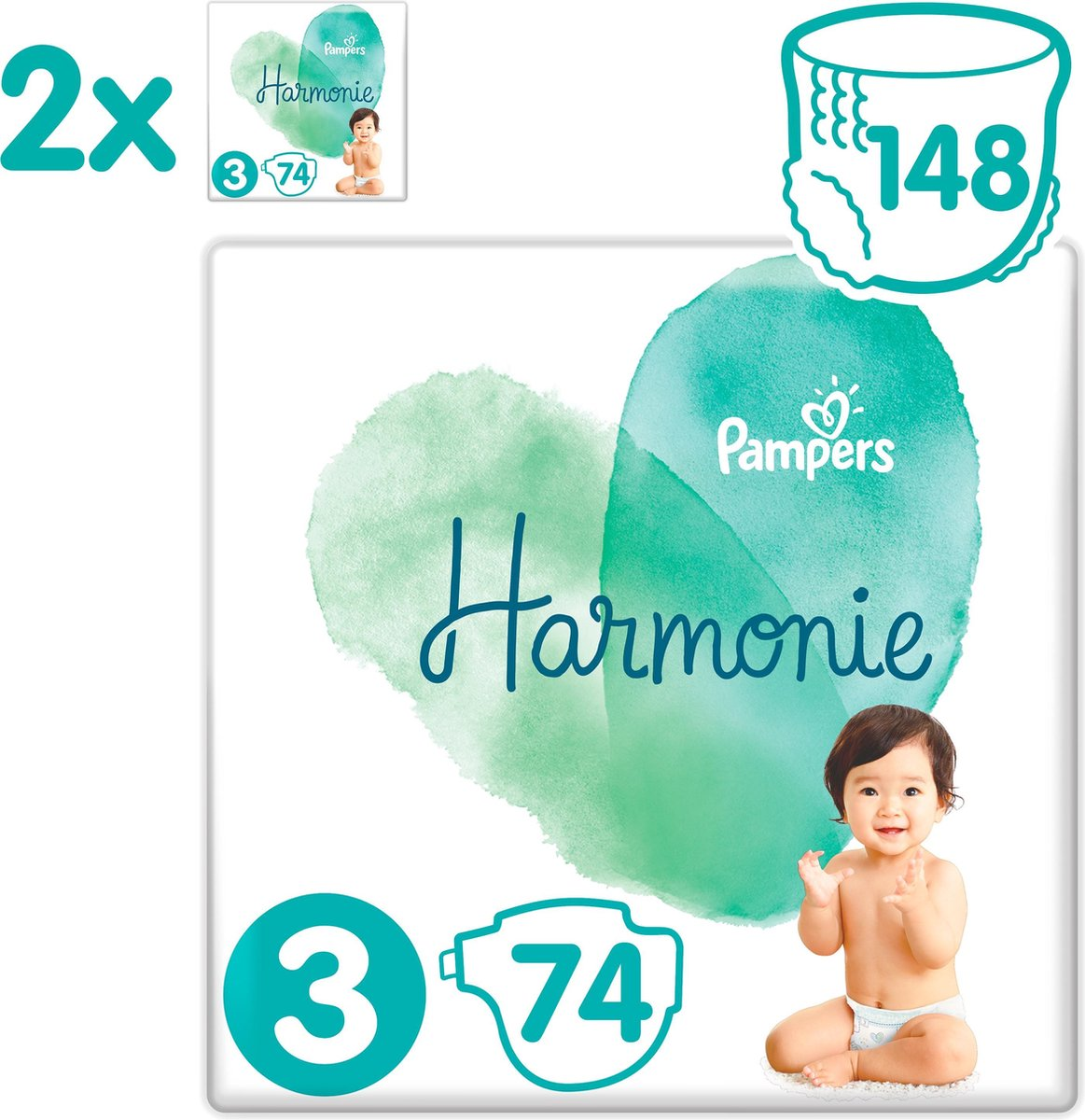 Pampers Harmonie / Pure Maat 3 (6-10kg) 148 Luiers