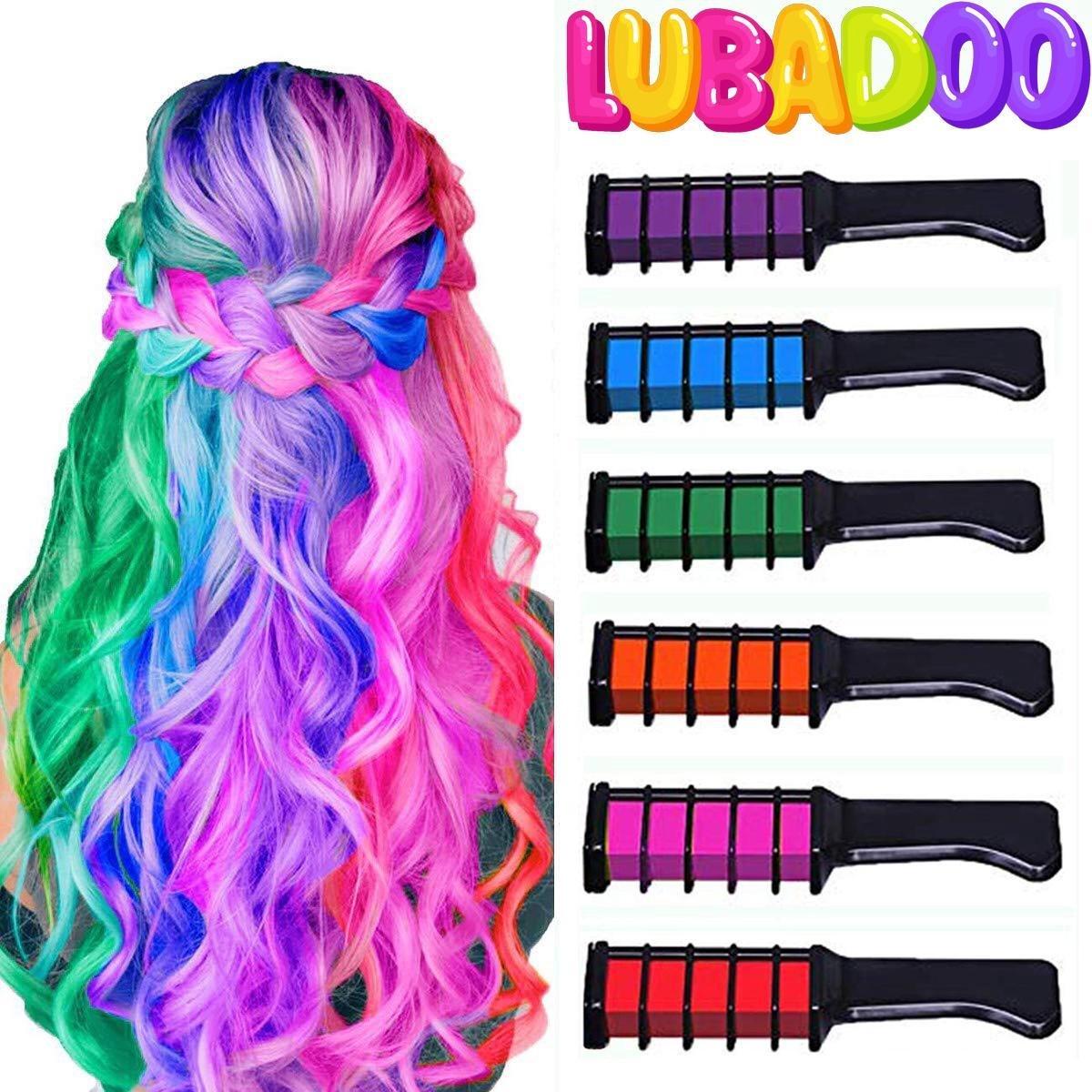 LUBADOO - Haarkrijt - Haarkrijt voor Kinderen - Haarmascara - Hair chalk - Haarkrijt kam - Haarstift