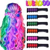 LUBADOO - Haarkrijt - Haarkrijt voor Kinderen - Haarmascara - Hair chalk - Haarkrijt kam - Haarstift - lol - Haarverf - Geschikt voor Kinderfeestjes - Feestje - Veel Kleuren - Paars - Groen - Blauw - Roze - Oranje - Rood - Incl. 6 kammen / Houders