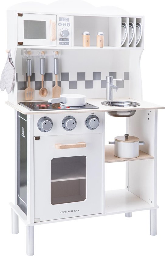 New Classic Toys Houten Speelkeuken Wit - Met Kookplaat die Licht geeft en Kook Geluid maakt - Krijtbord aan de zijkant