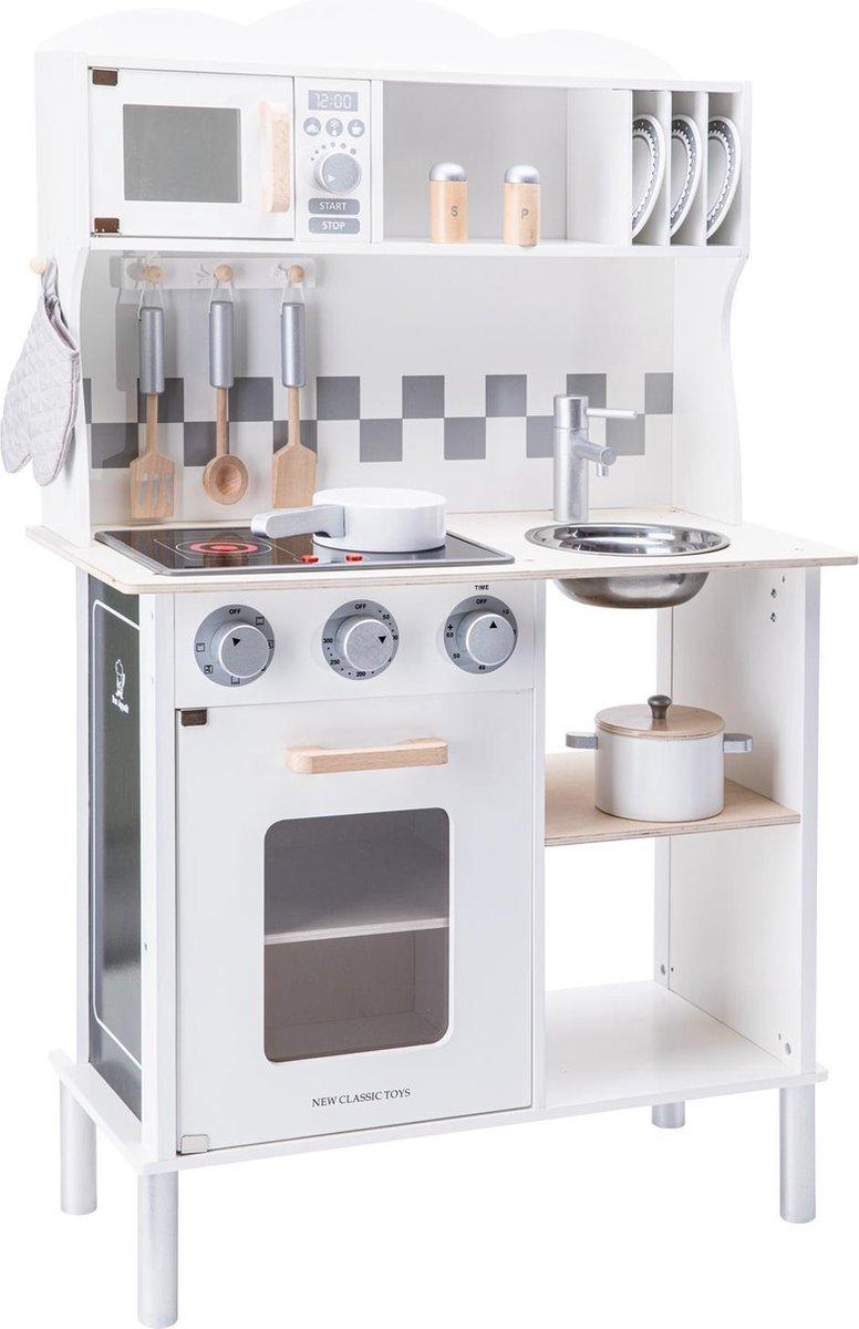 New Classic Toys Houten Speelkeuken Wit - Met Kookplaat die Licht geeft en Kook Geluid maakt - Krijt