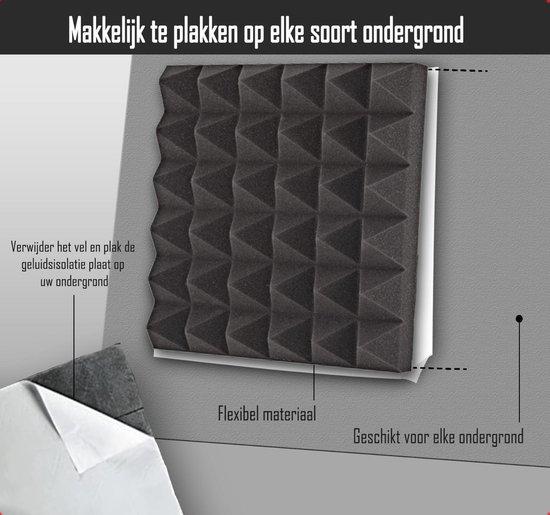 Zelfklevende geluidsisolatie pyramide | Akoestische panelen | isolatieplaten | Studioschuim | Geluidsdemper | 30 x 30 x 5 cm | 0,53m2 | 6 stuks - Zwart