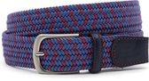 Elastische heren riem blauw/rood 3.5 cm breed - Jeans Blauw - Sportief - Leer / - Taille: 115cm - Totale lengte riem: 130cm - Mannen riem