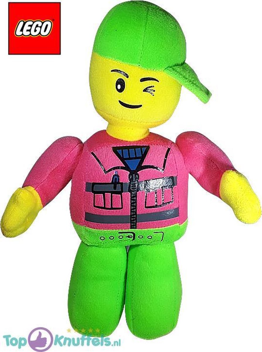 Lego Pluche Knuffel Groen Roze 32 cm | Lego Plush Toy | Lego Peluche Knuffel | Lego kinderspeelgoed | Lego knuffel voor kinderen