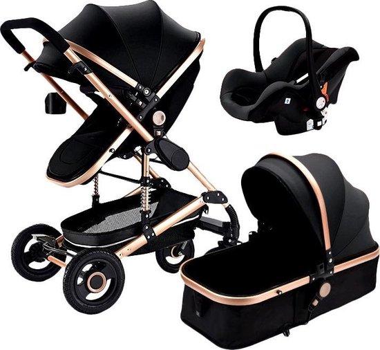 Product: Kinderwagen/ Poussette/ Baby Stroller - 3 in 1 - Kinderwagen + Slaapbed + Autostoel: Zwart, van het merk CuteDreams