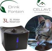 CELLAVI XL Drinkfontein Kat en Hond met 3 in 1 Waterfilter – Kattenfontein 3L – Super Stil – Duurzaam - Zwart