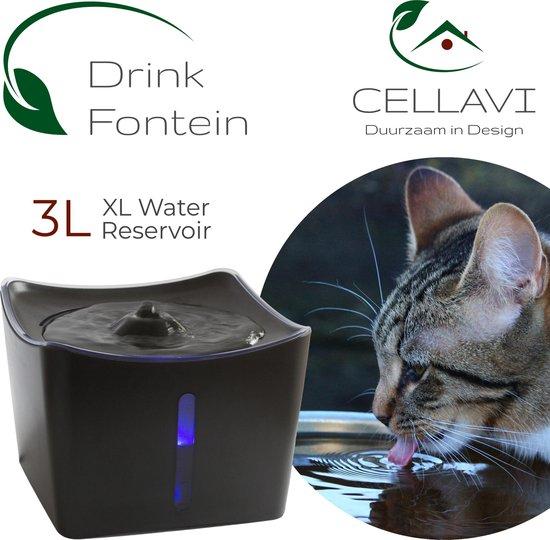 CELLAVI XL Drinkfontein Kat en Hond met 3 in 1 Waterfilter – Kattenfontein 3L – Super Stil – Duurzaam