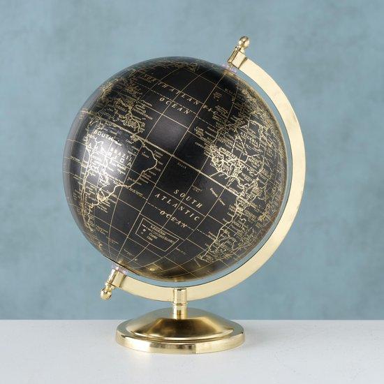 Wereldbol - Globe - 27.50cm - Ø22cm - Goud - Zwart