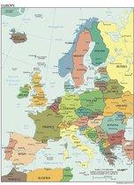 Poster in Witte Lijst -  Kaart Europa Landen & Hoofdsteden - Educatief - Schoolplaat - Large 70x50
