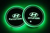 Coole Lichtgevende LED Onderzetters - Bekerhouders - Sfeerverlichting - LED Licht - Interieur Verlichting - 7 Verschillende Kleuren LED - Opladen via USB – Hyundai
