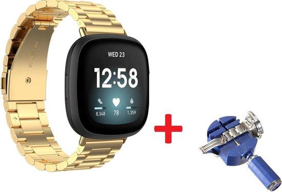 Luxe Metalen Armband Voor Fitbit Sense/ Fitbit Versa 3 Horloge Bandje - Schakel Polsband Strap RVS - Met Horlogeband Inkortset - Stainless Steel Watch Band - One-Size - Goud Kleurig