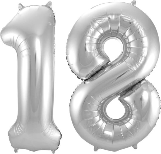 Ballon Cijfer 18 Jaar Zilver Verjaardag Versiering Zilveren Helium Ballonnen Feest Versiering 86 Cm XL Formaat Met Rietje