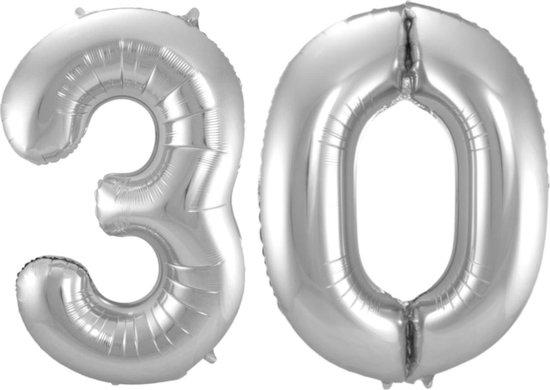 Ballon Cijfer 30 Jaar Zilver Verjaardag Versiering Zilveren Helium Ballonnen Feest Versiering 86 Cm XL Formaat Met Rietje