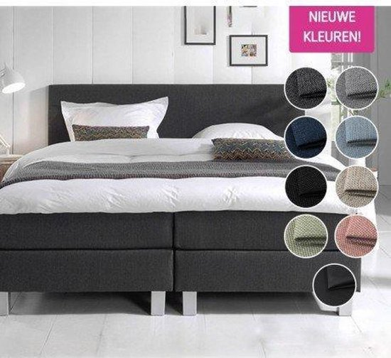 Complete Boxspring 160x200 cm - Antraciet - Pocketvering matrassen - Dreamhouse Louis - Twee persoons