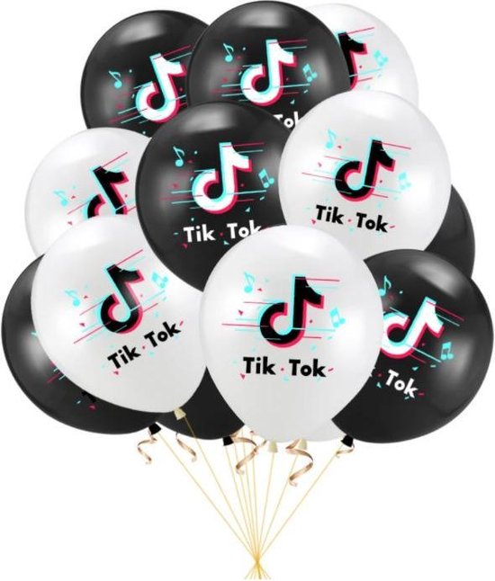 TikTok Ballon Tik Tok Ballonnen 20 stuks Verjaardag Feestje Versiering
