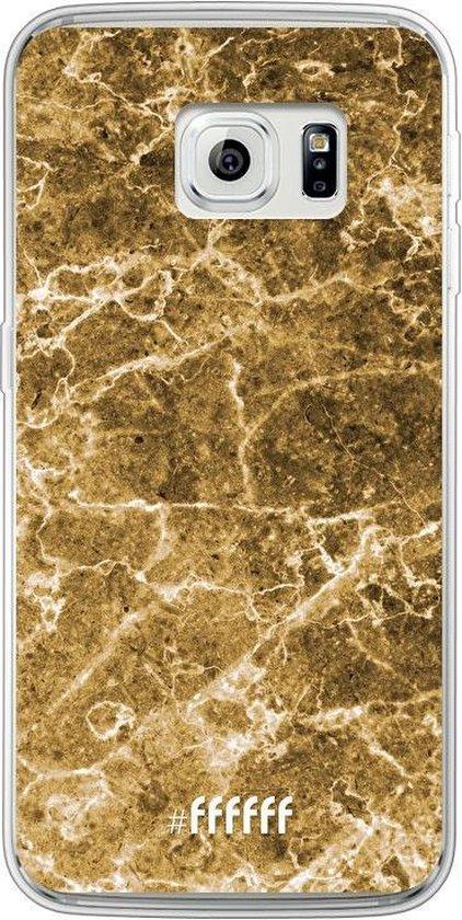 Samsung Galaxy S6 Edge Hoesje Transparant TPU Case - Gold Marble #ffffff