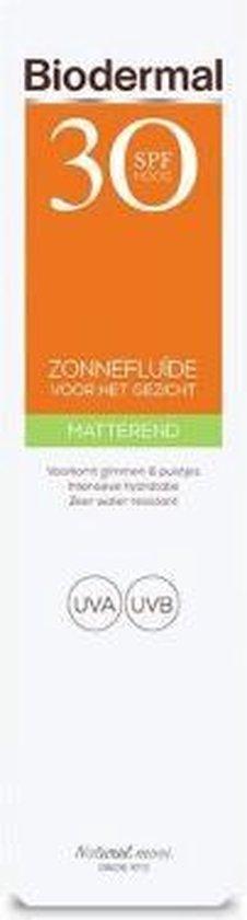 Biodermal Zonnebrand -  Matterende Zonnefluïde voor het gezicht SPF 30 - 40ml - Voorkomt glimmen en puistjes