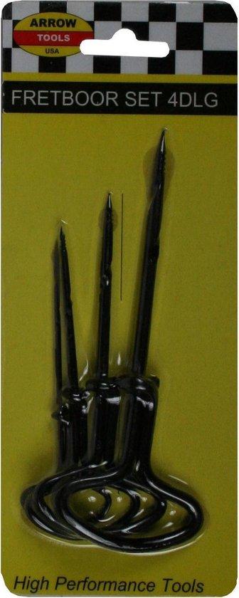 1x Handboren / fretborenset - 4-delig - gaatjes voorboren in hout - klusbenodigheden / gereedschapsets