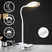 B.K.Licht - Led Bureaulamp - klemlamp - leeslamp -  nachtlamp - met klem - clip on - wit