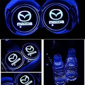 Coole Lichtgevende LED Onderzetters - Bekerhouders - Sfeerverlichting - LED Licht - Interieur Verlichting - 7 Verschillende Kleuren LED - Opladen via USB – Mazda