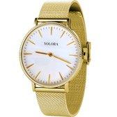Yolora Dames Horloge met 120 Kalpa Camaka Kristallen - ⌀ 37 mm - Goudkleurig Edelstaal - 18K Geelgoud Verguld - Stainless Steel - Goud RVS - Vrouwen Sieraden - Geschenkdoos - Cadeau doos - Exclusieve Geschenkverpakking - Mooie Cadeauverpakking