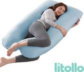 Litollo® Zwangerschapskussen XXL | Voedingskussen | Lichaamskussen |Body pillow | 280cm | Incl. opbergtas | Afneembare hoes | Blauw
