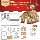 10-delige uitsteekvorm set voor maken Gemberkoek huis - gingerbread house - peperkoekhuisje