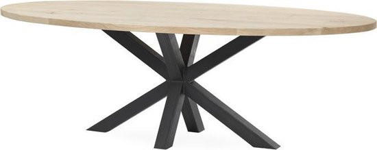 Livinn Zevenaar - Ovale eiken eettafel rustiek - 240x100x78 - Spinpoot Elegance Groot zwart staal - Tafelblad skylt gelakt ultramat
