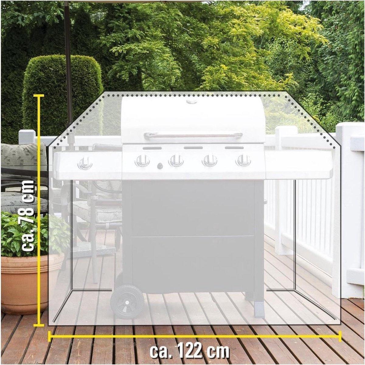 Afdekhoes/beschermhoes rechthoekige barbecue/bbq 122 x 71 x 78 cm zwart - Afdekhoezen/beschermhoezen - Barbecuehoes - Barbecuebescherming