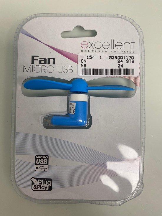 Mini ventilator: via oplader mobiele telefoon - set van 2 stuks (blauw/wit)