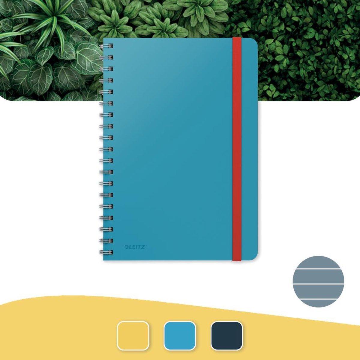 Leitz Cosy Notitieboek B5 Soft Touch Gelijnd - Notitieboek Hard Cover - Spiraalgebonden - Voor Kantoor En Thuiswerken - Sereen Blauw - Ideaal Voor Thuiskantoor